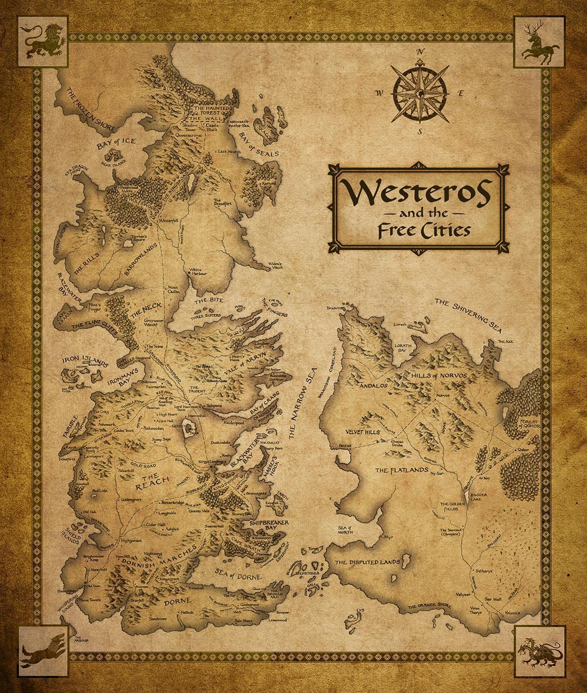 Curiosidades y rarezas de Juego de Tronos Game-of-Thrones-Houses-Map