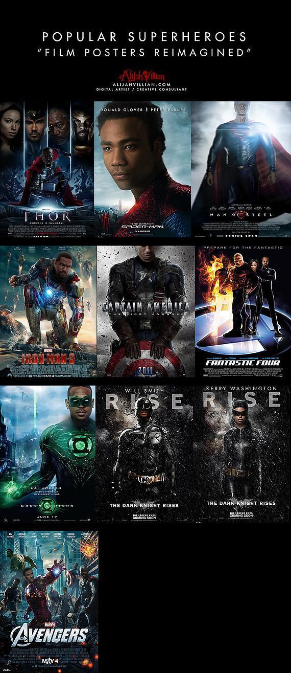 black superheros alijah villian black superheroes reimagined in film posters 1 Is The World Ready For A Black Superman? Film Posters Reimagined with Black Superheroes Movies