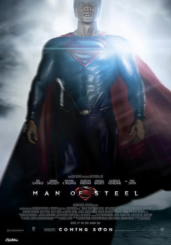 manofsteel edi gathegi brooks black superheros alijah villian black superheroes reimagined film posters full res Is The World Ready For A Black Superman? Film Posters Reimagined with Black Superheroes Movies