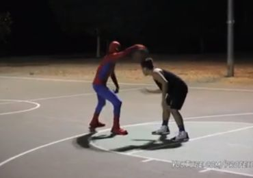 See Spidey's mad skills on the basketball court. Crazy stuff!