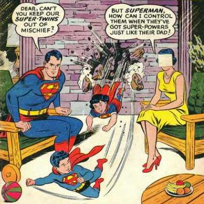 Twins, with a mystery woman in Superman #131 (August 1959)