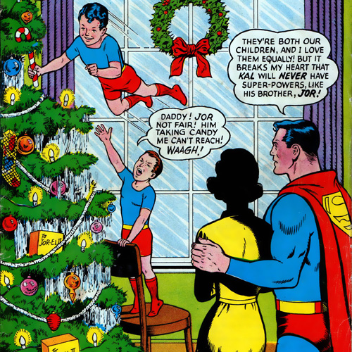 Kal and Jor, with a mystery woman in Superman #166 (January 1964)