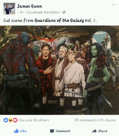 According to Guardians of the Galaxy director James Gunn, Star Wars is about to become a part of the Marvel Universe.