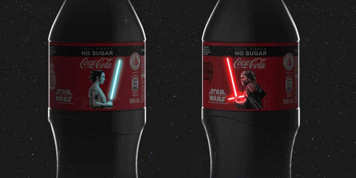 Star Wars Coca-Cola Bottles Rey & Kylo Ren's Lightsabers Light Up