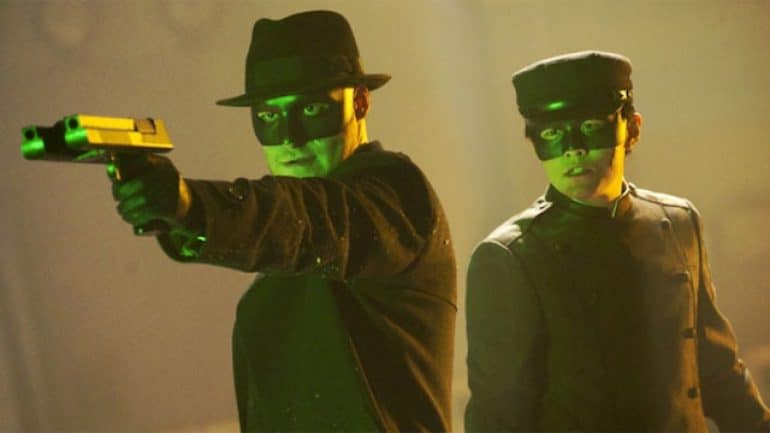 Seth Rogen as the Green Hornet and Jay Chou as Kato in 2011's The Green Hornet movie