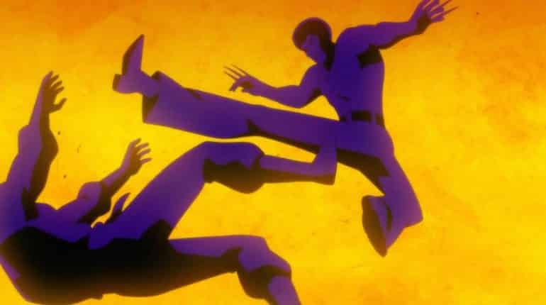 batman soul of the dragon Ben Turner Bronze Tiger (voiced by Michael Jai White) takes this fight scene to vintage 1970s extremes in this silhouetted image.