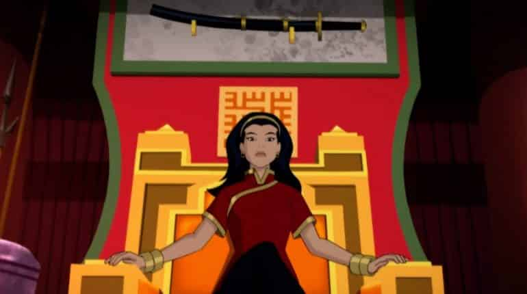 bruce timm batman Lady Shiva (voiced by Kelly Hu) reigns on high with Soulbreaker, a sword of incredible power, mounted on the wall above her.