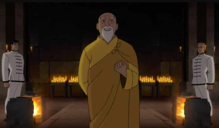 O'Sensei (voiced by James Hong) explains the ritual of attempting to break the stone to Bruce Wayne (voiced by David Giuntoli) and Rip Jagger (voiced by Chris Cox).