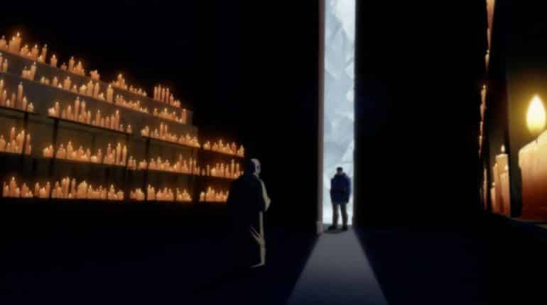 O'Sensei (voiced by James Hong) greets Bruce Wayne (voiced by David Giuntoli) in the candlelit great hall.