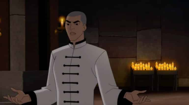 Richard Dragon (voiced by Mark Dacascos) attempts to talk sense into a young, stubborn Bruce Wayne.