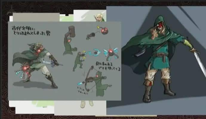 Concept art for the original Breath of the Wild armless Link