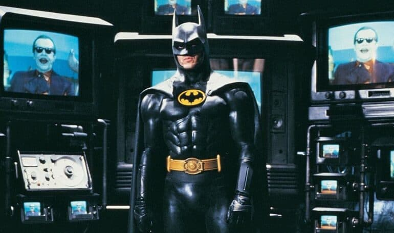 Michael Keaton's Batman in the Batcave